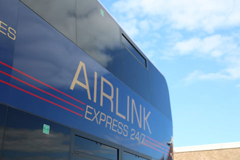 side view of Edinburgh Airlink Express airport bus