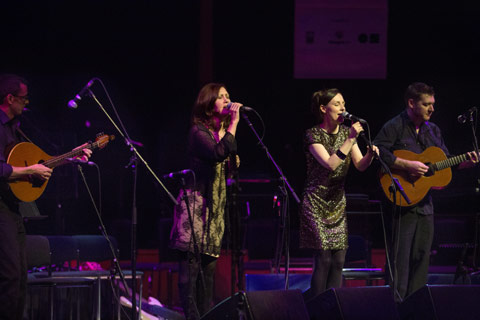 Celtic Connections - two female singers and two musicians playing on stage