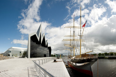 The Tall Ship moored in the river at Riverside Museum