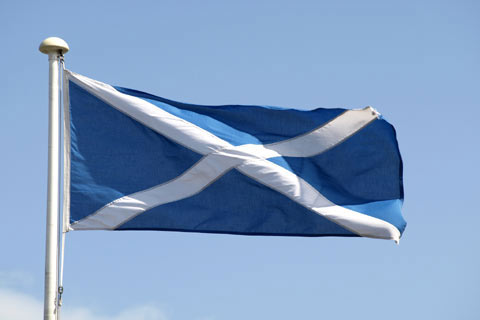 The Saltire flag - white cross on blue background