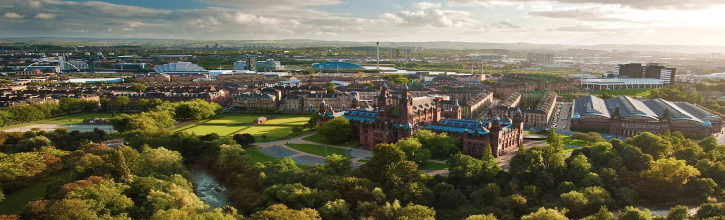 Ariel view of the River Kelvin and Kelvingrove Art Gallery and Museum, Glasgow