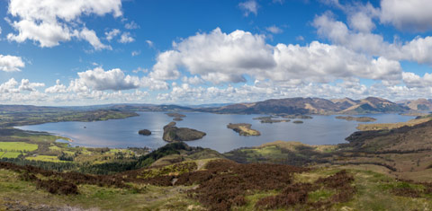 Several of the islands of Loch Lomond seen from above