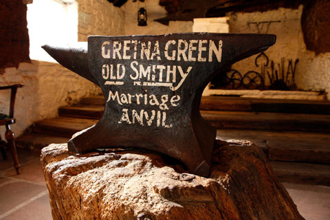 The famous marriage anvil in the Old Smithy at Gretna Green
