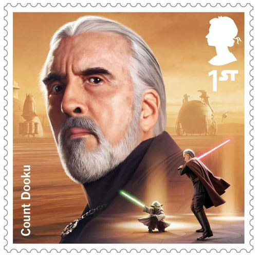 Postage Stamp showing picture of Christopher Lee as Count Dooku from Star Wars films